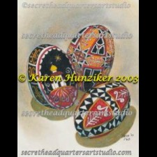 Three Pysanky Grey
